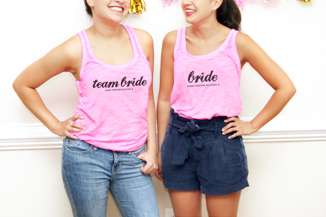 Diy team bride bachelorette t shirts for Create your own iron on transfer for t shirt