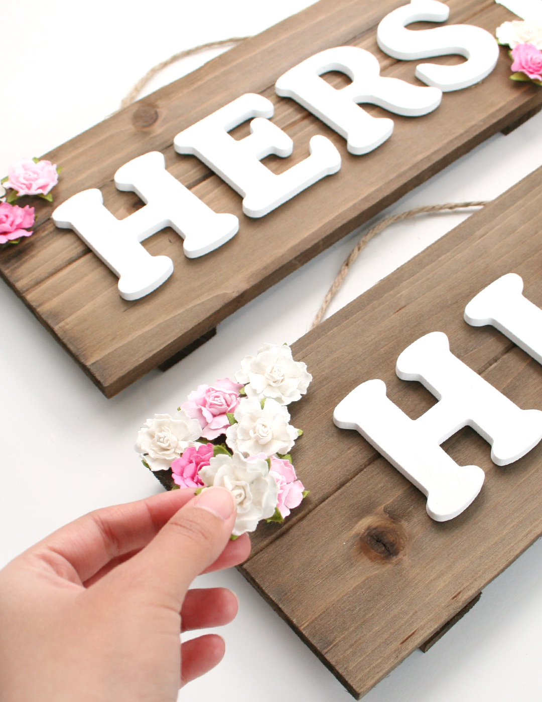 DIY Wedding Bride and Groom Chair Signs