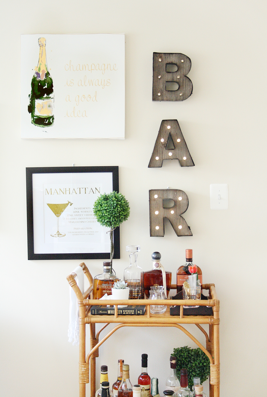 Home tour bar cart styling love vividly for Mini bar decorating ideas
