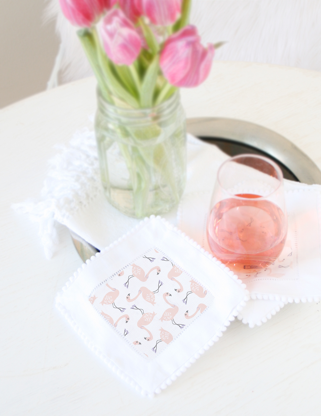 DIY Flamingo Cocktail Napkins