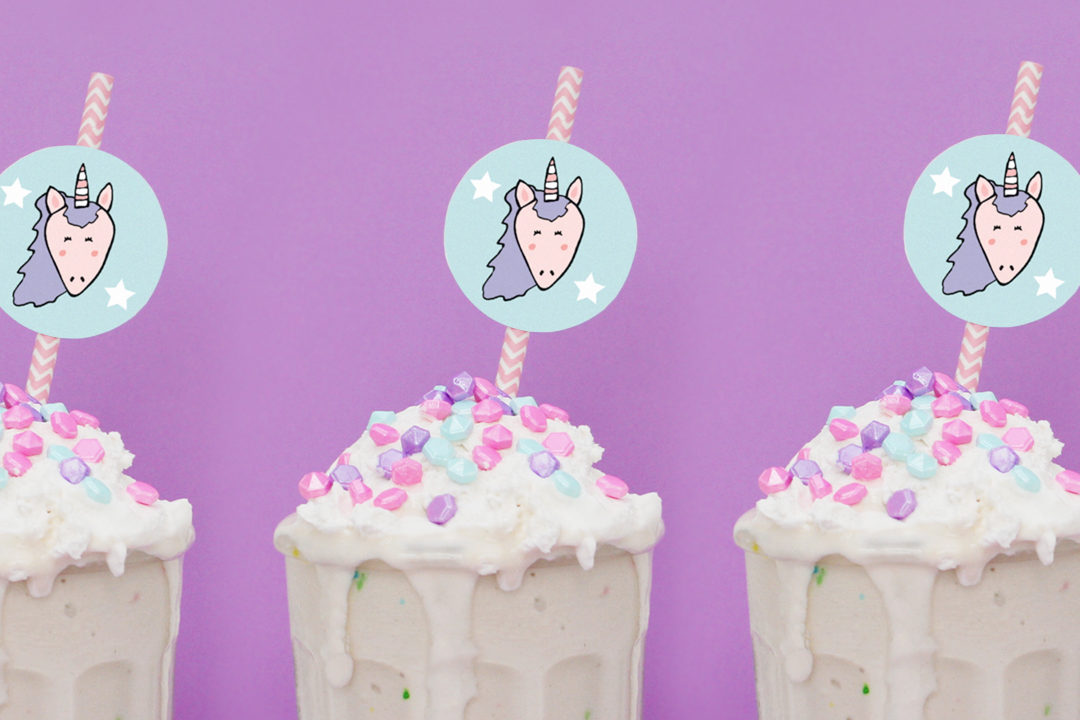 graphic regarding Unicorn Cupcake Toppers Printable referred to as Birthday Cake Milkshake + Unicorn Straw Toppers (Cost-free