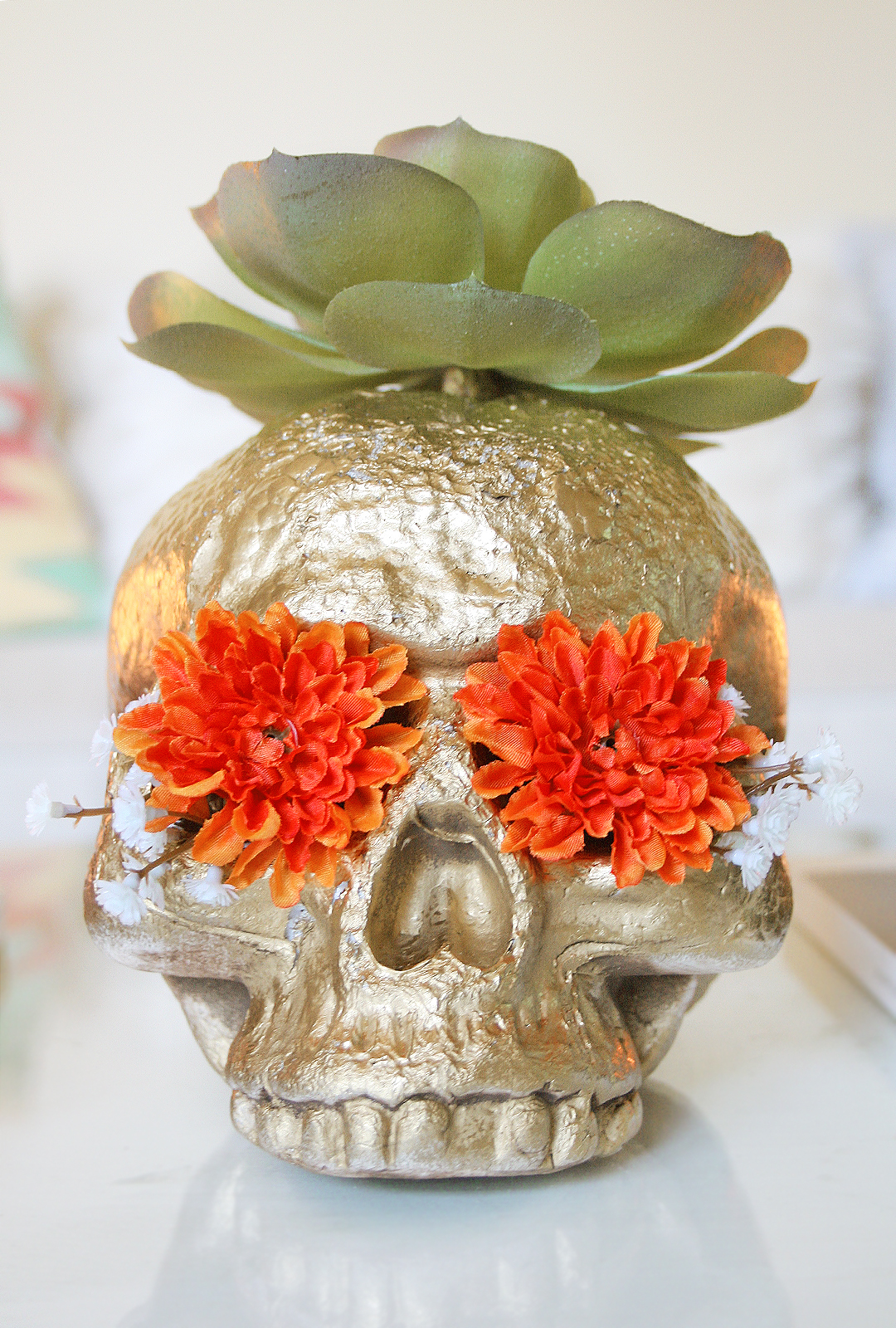 DIY Skull Head Faux Flower Planter